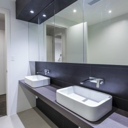 Modern twin bathroom in designer Australian home